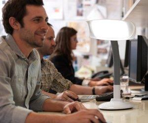 Desklamp has 96 x blue-enriched white LEDs