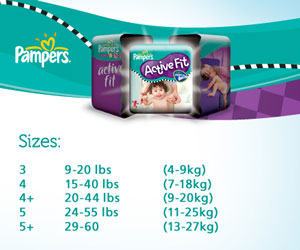 Pampers Active Fit Nappies Size Chart
