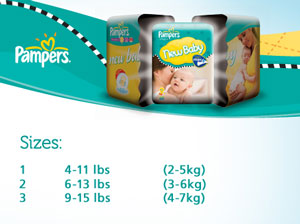 Pampers New Baby Size 2 (6-13 lbs/3-6 kg) Nappies - 2 x Economy ...