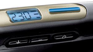 The Sleek and Curl Hair Straightener's digital display and LCD temperature lock
