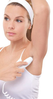 Rio laser tweezer being used on underarms
