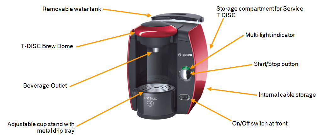 T4013 Spider Image Bosch Tassimo Coffee Maker Red Light