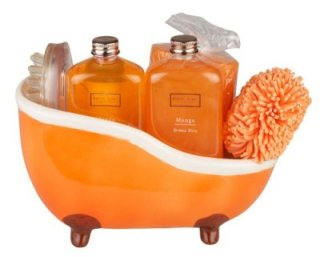 winter in venice mango ceramic bath tub pamper gift set buy orange bathroom accessories - Bathroom Accessories Orange