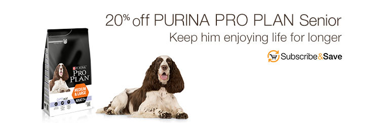20% off Purina Pro Plan Senior. Keep him enjoying life for a little longer