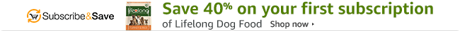 Save 40% on your first subscription of Lifelong dog food