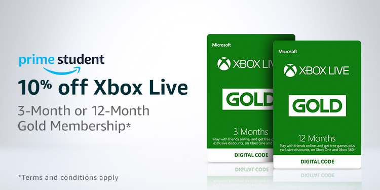 10% Off Xbox Live 3-Month or 12-Month Gold Membership