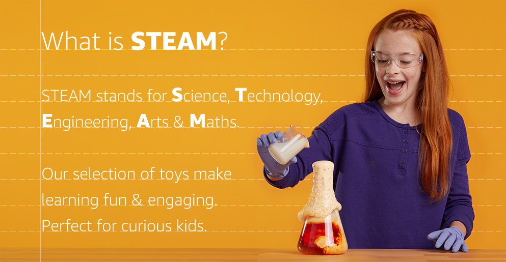 STEAM stands for science, technology, engineering, arts and maths. Our selection of toys make learning fun and engaging. Perfect for curious kids.