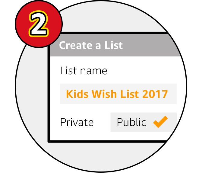 Click 'Create a list' at the right hand side of the screen, select 'Wish List' & name it 'Kids Wish List 2017' in order to be entered into the competition. Ensure your list is set to 'Public'.