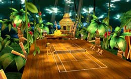 Play on a range of courts including Mario Stadium, DK Jungle, and Bowsers Castle