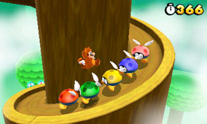 As Tanooki Mario, he can use his tail to hover or perform floating jumps and attacks