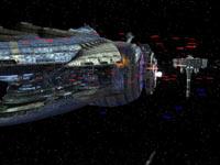 A space battle in progress from LEGO Star Wars III: The Clone Wars Wii