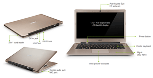 Acer Aspire S3 391 13 3 Inch Laptop Gold Intel Core