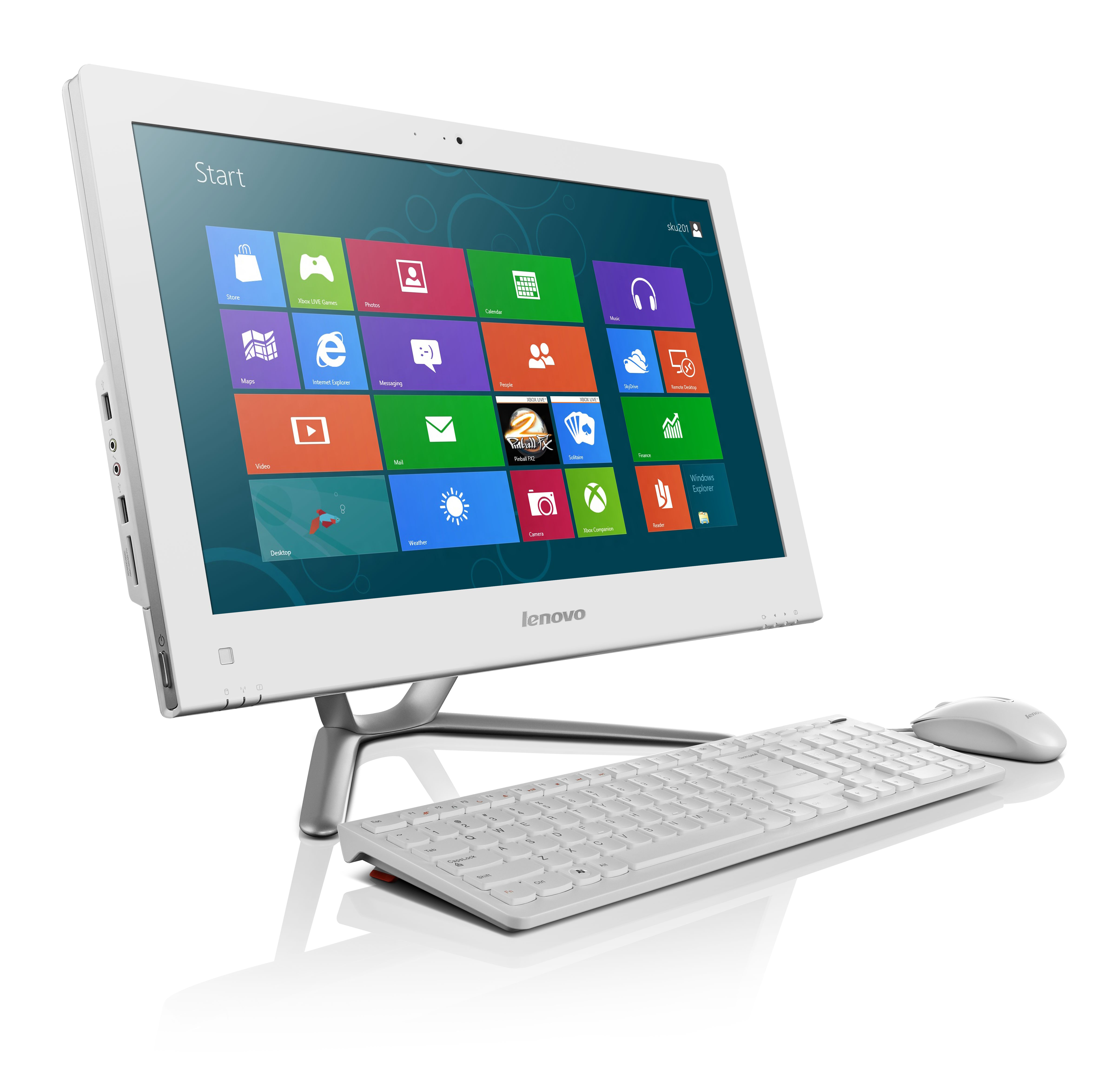 lenovo c345 20 inch all in one desktop pc white amd. Black Bedroom Furniture Sets. Home Design Ideas