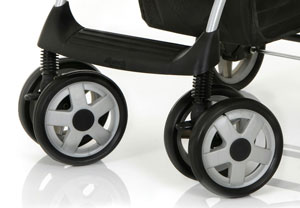 Lockable swivel front wheels