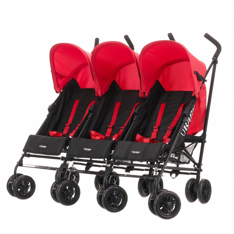 Obaby Mercury Triple Stroller (Black/Red): Amazon.co.uk: Baby
