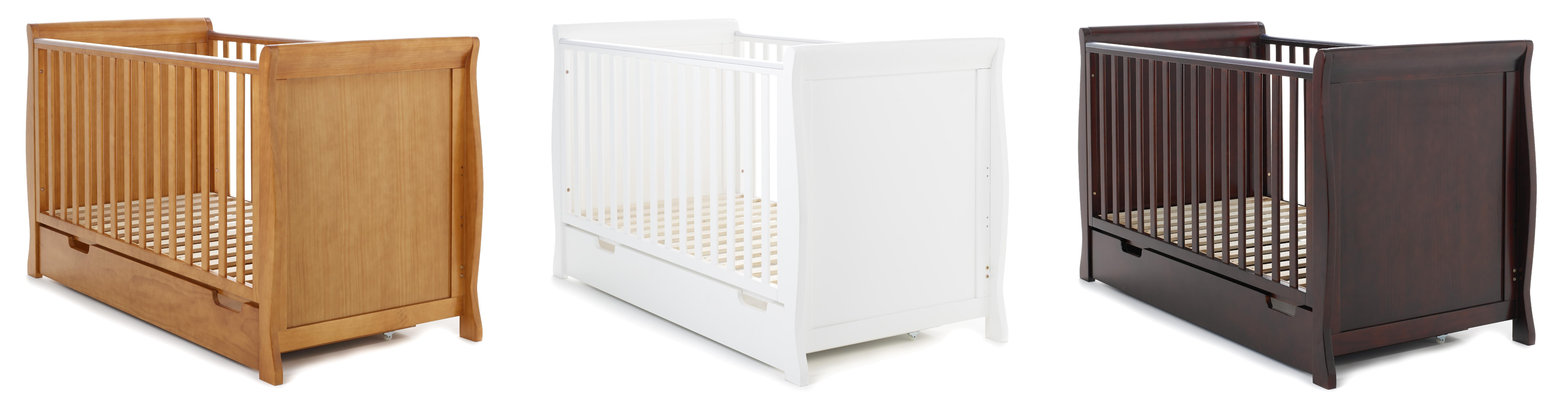 Obaby Sleigh Cot Bed And Under Drawer White Amazonco