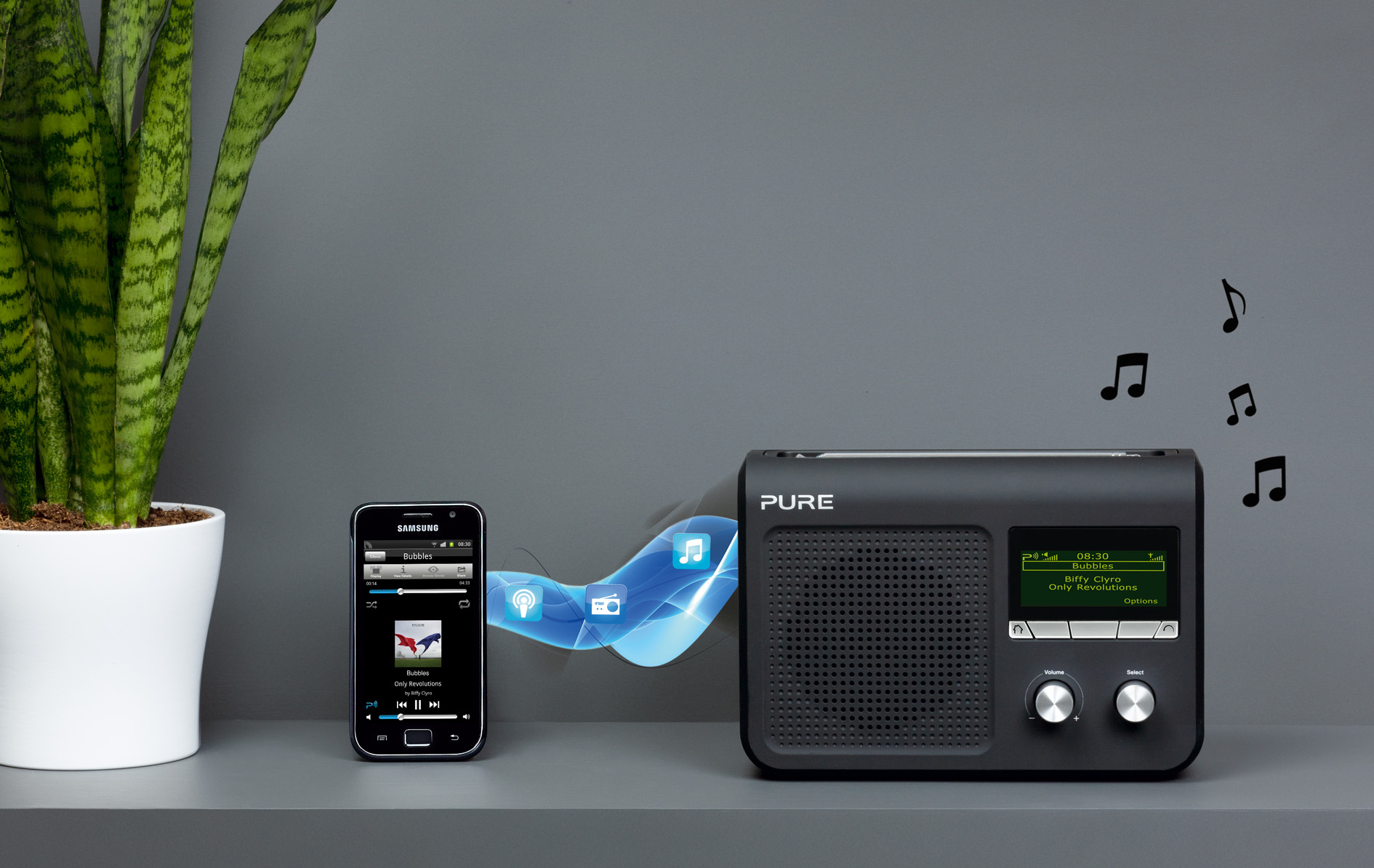 Pure one flow portable music streaming system with dab for Radio parlamento streaming