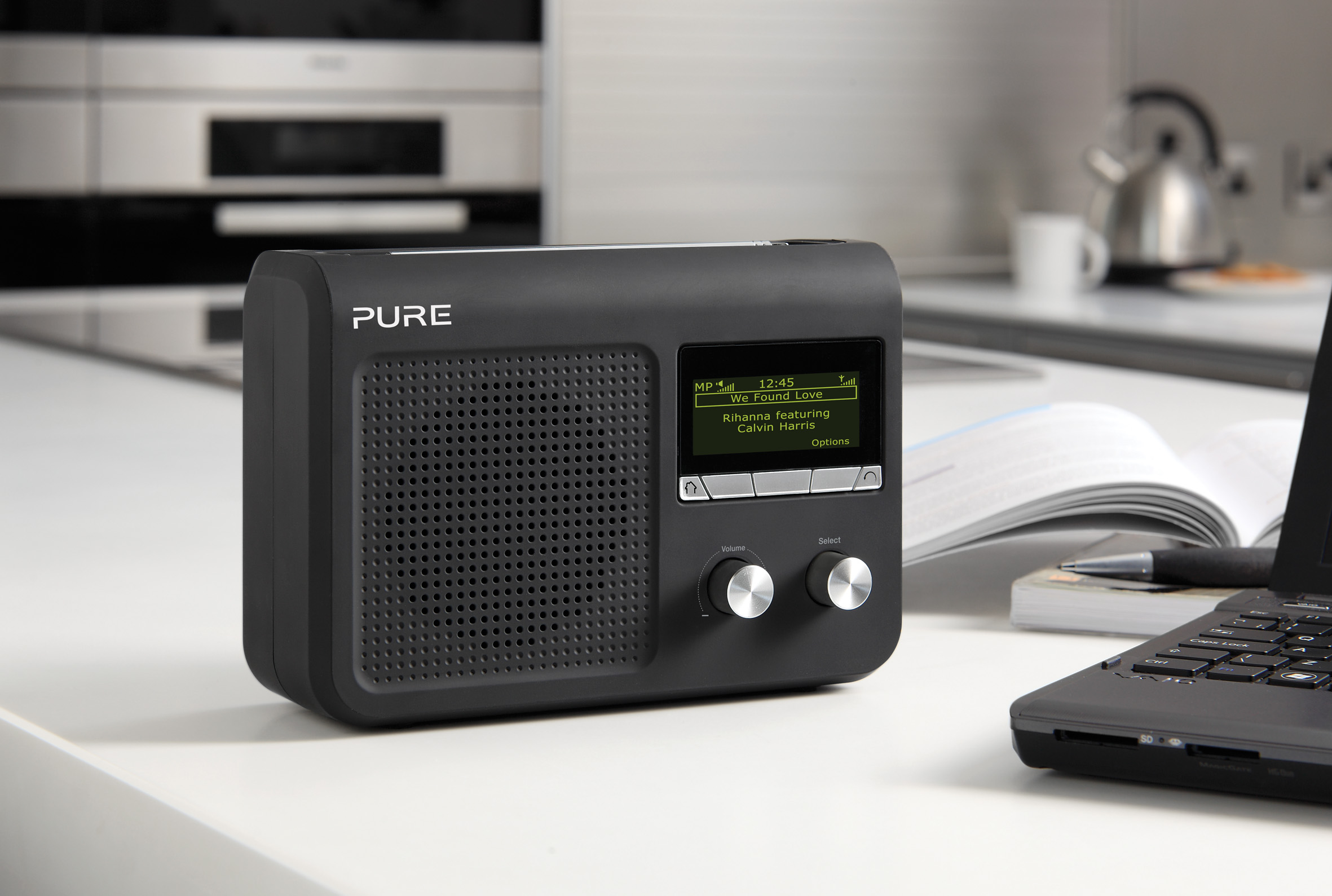 pure one flow portable music streaming system with dab. Black Bedroom Furniture Sets. Home Design Ideas