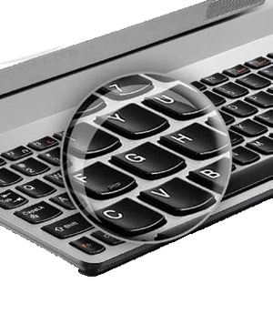 Individual, rounded keys for comfortable typing