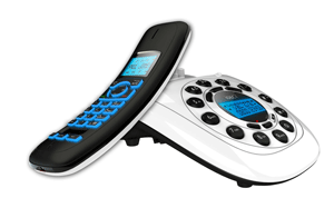 The corded base unit showing handset display
