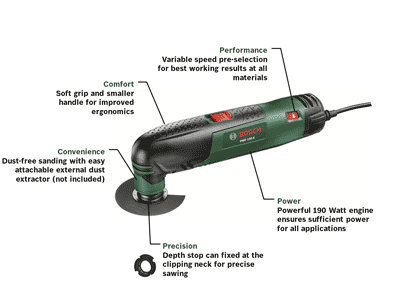 bosch pmf 190 e multifunction tool with cutting discs saw blades and sander sheets. Black Bedroom Furniture Sets. Home Design Ideas