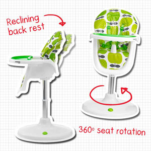 Reclining back rest and rotating seat