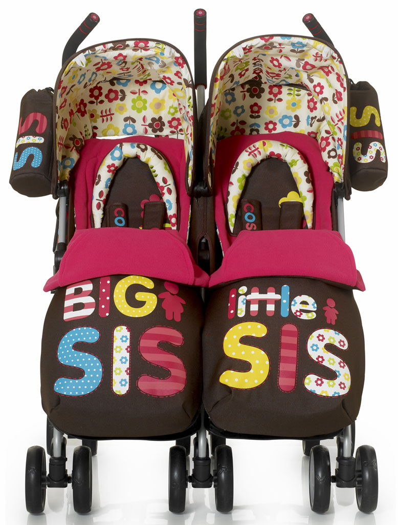 Cosatto Supa Dupa Twin Stroller Big And Little Sis Pink