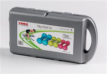 York Vinyl Fitbell Kit in a Case - 10 kg