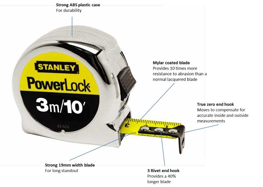 stanley 033523 micro powerlock tape 3m 10ft. Black Bedroom Furniture Sets. Home Design Ideas