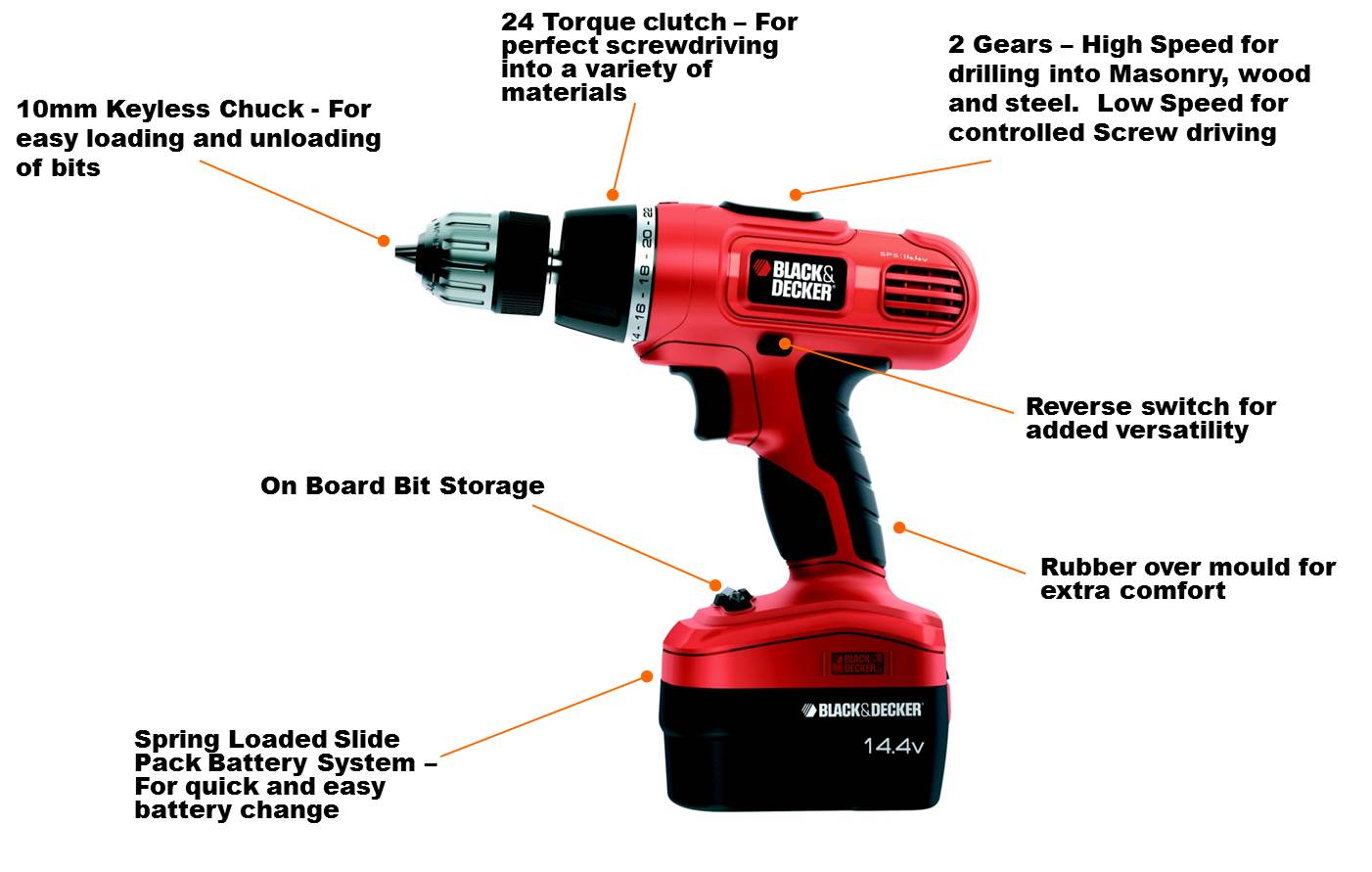 black+decker epc148bk 14.4 v nicd cordless hammer drill (2 ... power tool schematics 2001 f350 power window wiring schematics #7