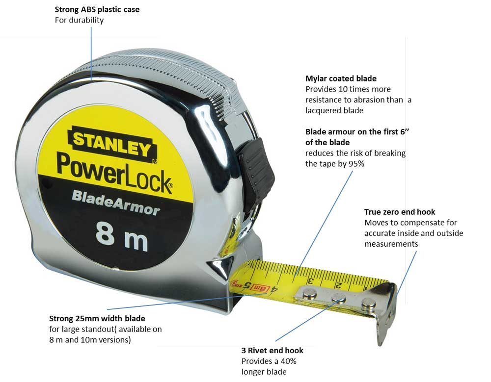 stanley 0 33 527 8m power lock tape with blade armor amazon co uk rh amazon co uk Parts of a Tape Measure Tape- Measure