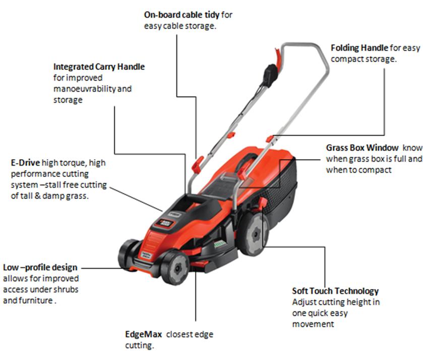 Black Decker 1400w Edge Max Lawn Mower With 34 Cm Cut 40 L