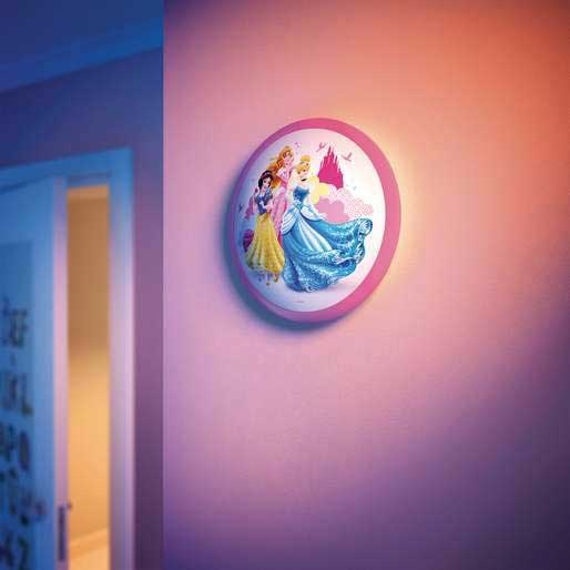 Philips disney princess childrens wall and ceiling light 1 x 4 w install this fixture as a wall light or ceiling light just the way you like it aloadofball Image collections