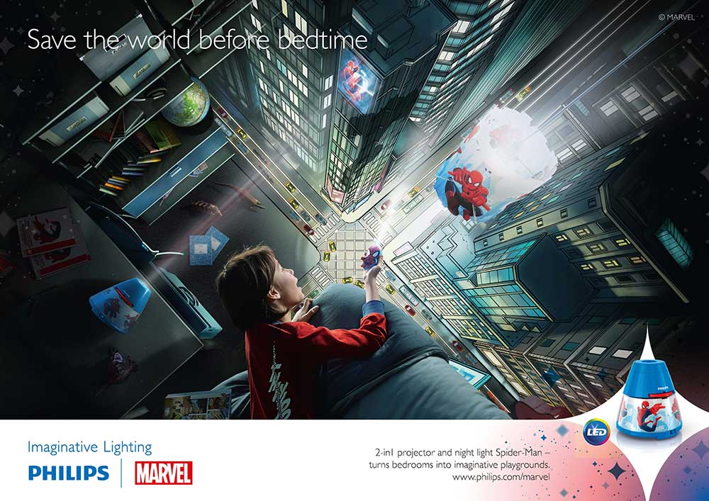 Philips Marvel Spider-Man Children s Wall and Ceiling Light - 1x4 W Integrated LED: Amazon.co ...