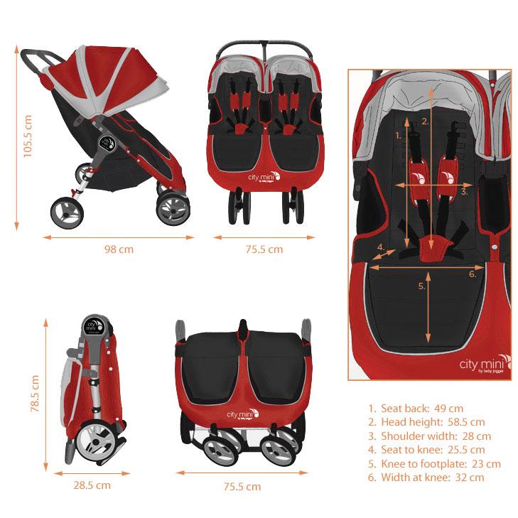 28b9a573390 Baby Jogger City Mini Double (Crimson)