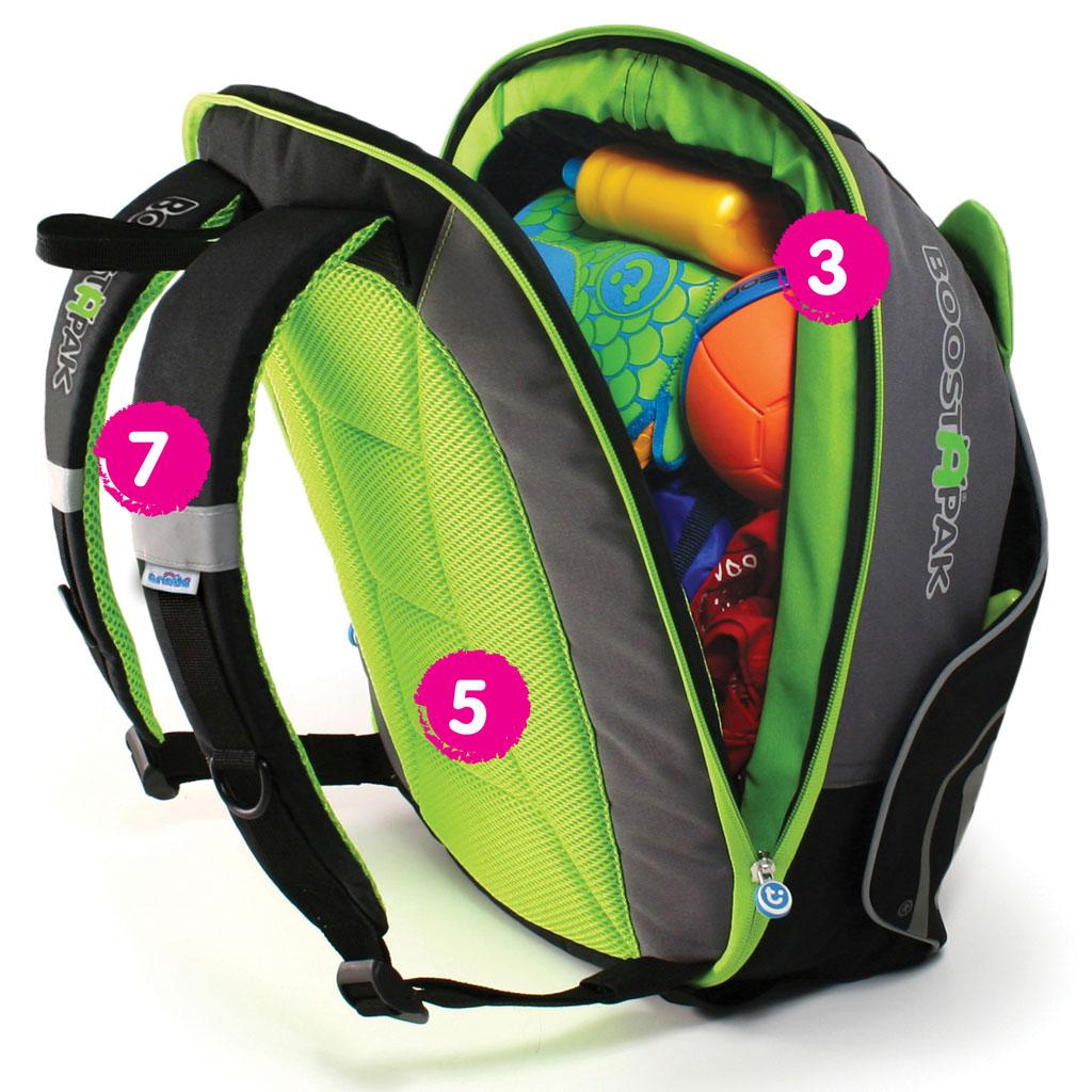 Travel Car Seat: Trunki BoostApak Travel Backpack Booster Car Seat (Green