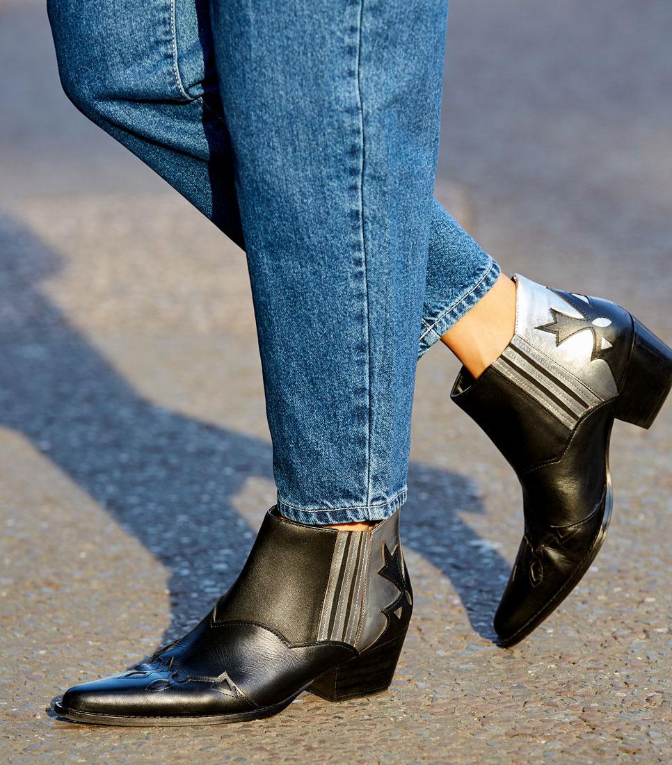 FIND Damen Cowboy-Stil Stiefeletten