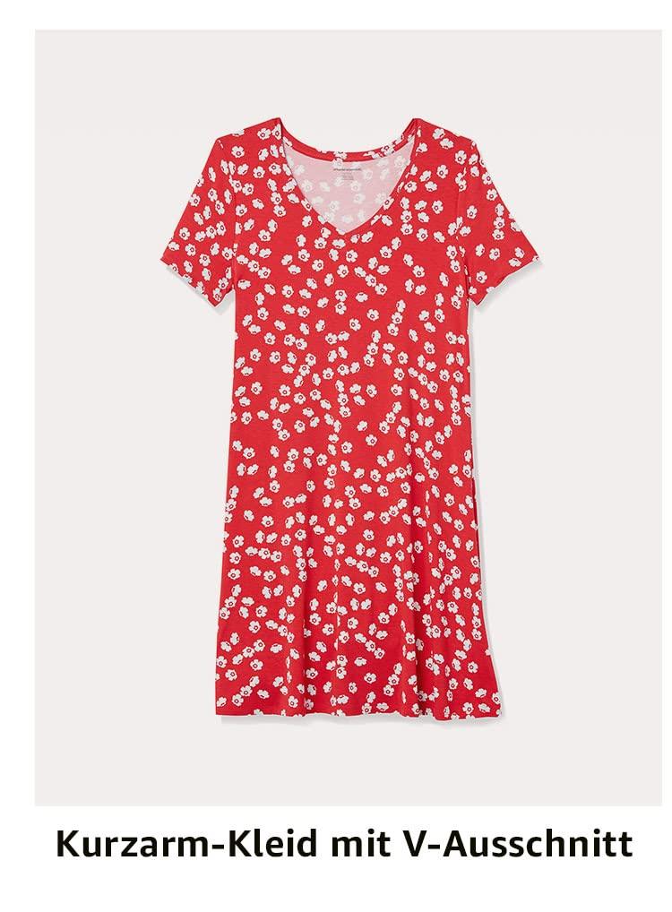 Kurzarm-Kleid mit V-Ausschnitt