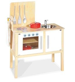 Pinolino 229313 - Kinder Kombi Küche Jette - mit magnetisch befestigten  Kochbesteck, Maße: 55 x 30 x 87 cm