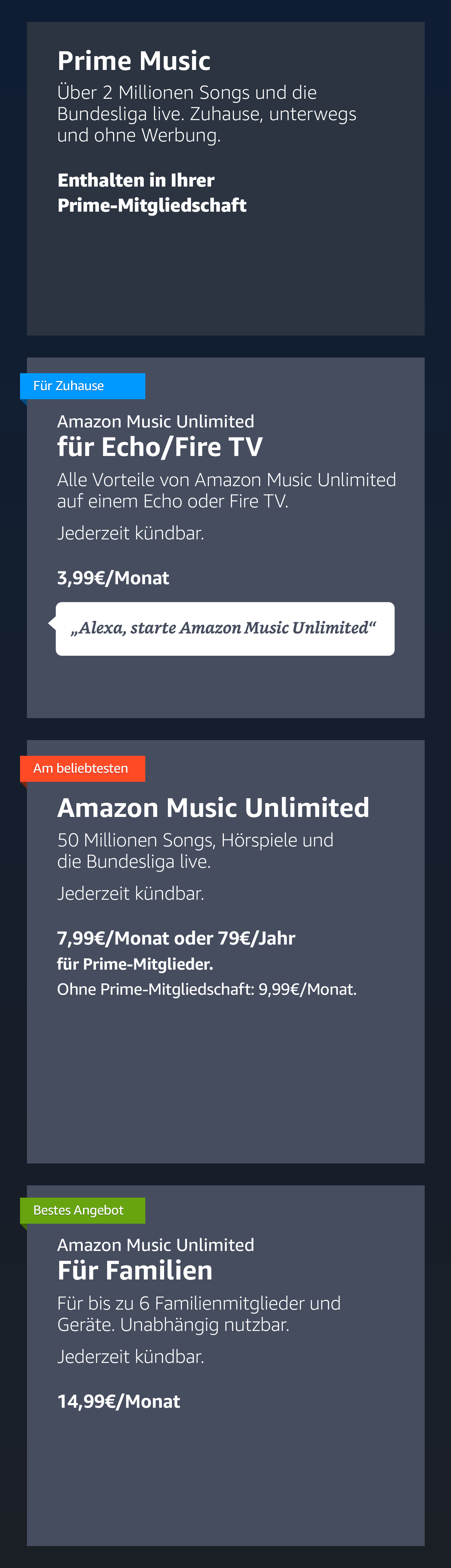 Amazon Music Unlimited für Familien