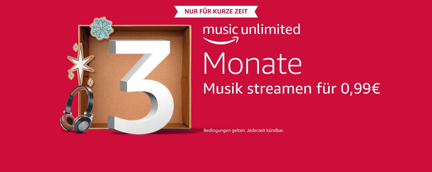 Amazon Music Unlimited, 3 Monate Musik streamen für 0,99€