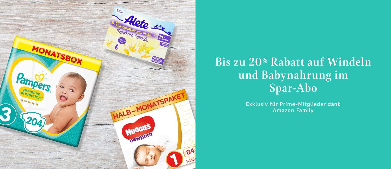 Bis zu 20% Rabatt auf Windeln und Babynahrung