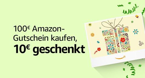 10€ geschenkt beim Kauf eines 100€ Amazon-Gutscheins