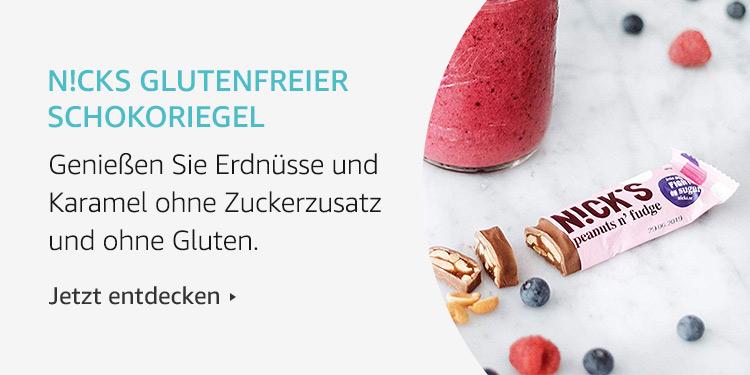 Amazon Launchpad Start-up-Produkte: N!cks glutenfreier Schokoriegel