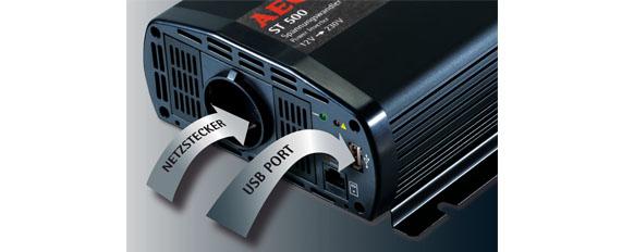 aeg 97115 spannungswandler st 500 watt 12 volt auf 230 volt mit lcd display usb ladebuchse. Black Bedroom Furniture Sets. Home Design Ideas