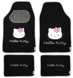 hello kitty 077410 4 teiliges fu matten set schwarz auto. Black Bedroom Furniture Sets. Home Design Ideas