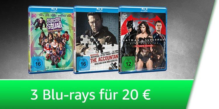3 Blu-rays für 20 EUR