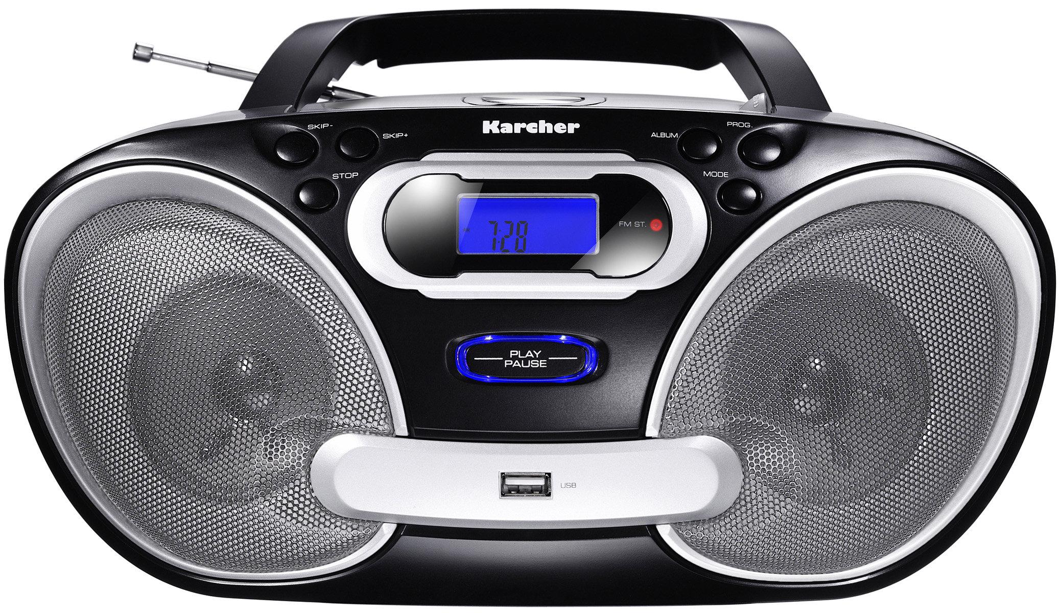 karcher rr5050 stereo portatile con radio fm cd mp3 usb 2 0 50 watt pmpo colore nero. Black Bedroom Furniture Sets. Home Design Ideas