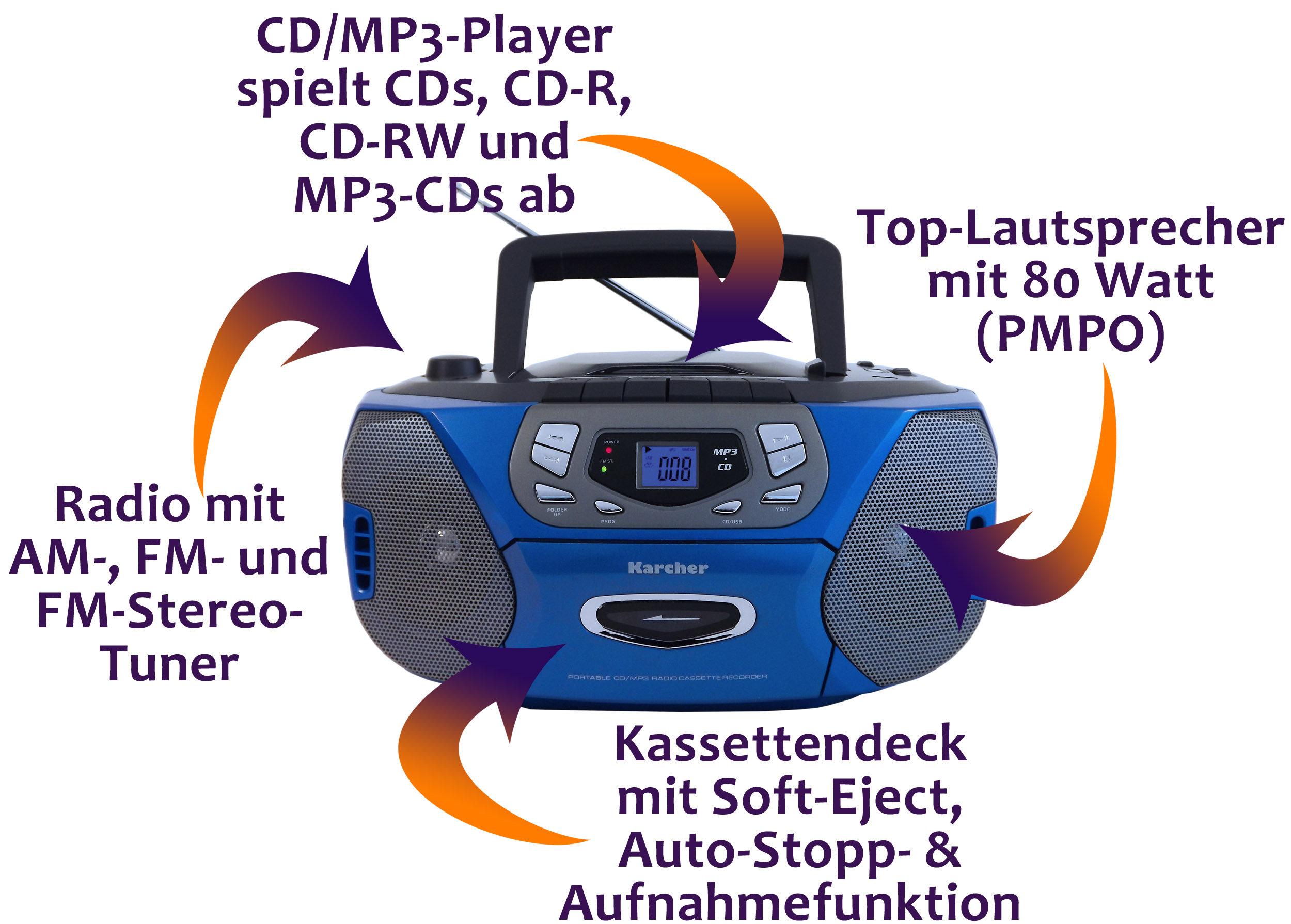 karcher rr 508 radio kassettenrekorder cd mp3 player am. Black Bedroom Furniture Sets. Home Design Ideas