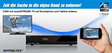 smart cx 05 hdtv satelliten receiver usb lan smart stream schwarz heimkino tv. Black Bedroom Furniture Sets. Home Design Ideas